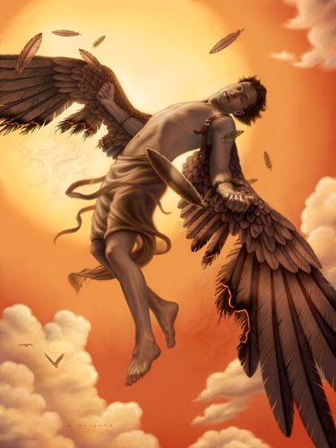 Icarus by Dickens Fourtyfour   Icarus Paintings Involving